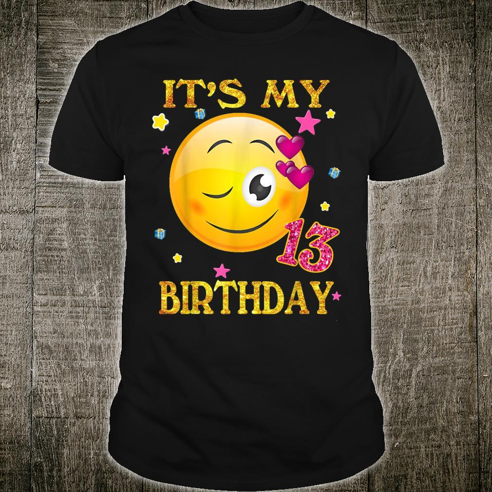 It's My 13th Birthday Girl Shirt 13 Years Old Cute Face Shirt