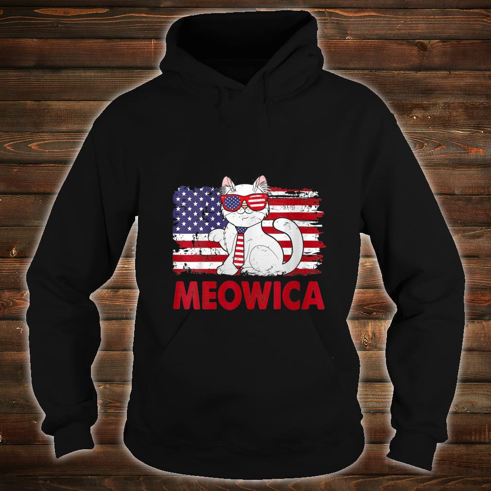 Meowica Cat USA Flag Independence Day 4th Of July Shirt hoodie