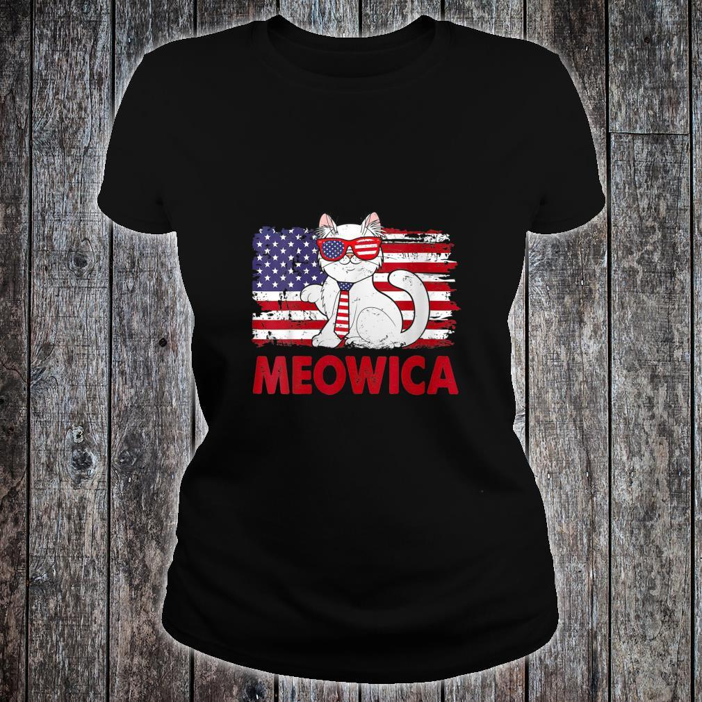 Meowica Cat USA Flag Independence Day 4th Of July Shirt ladies tee