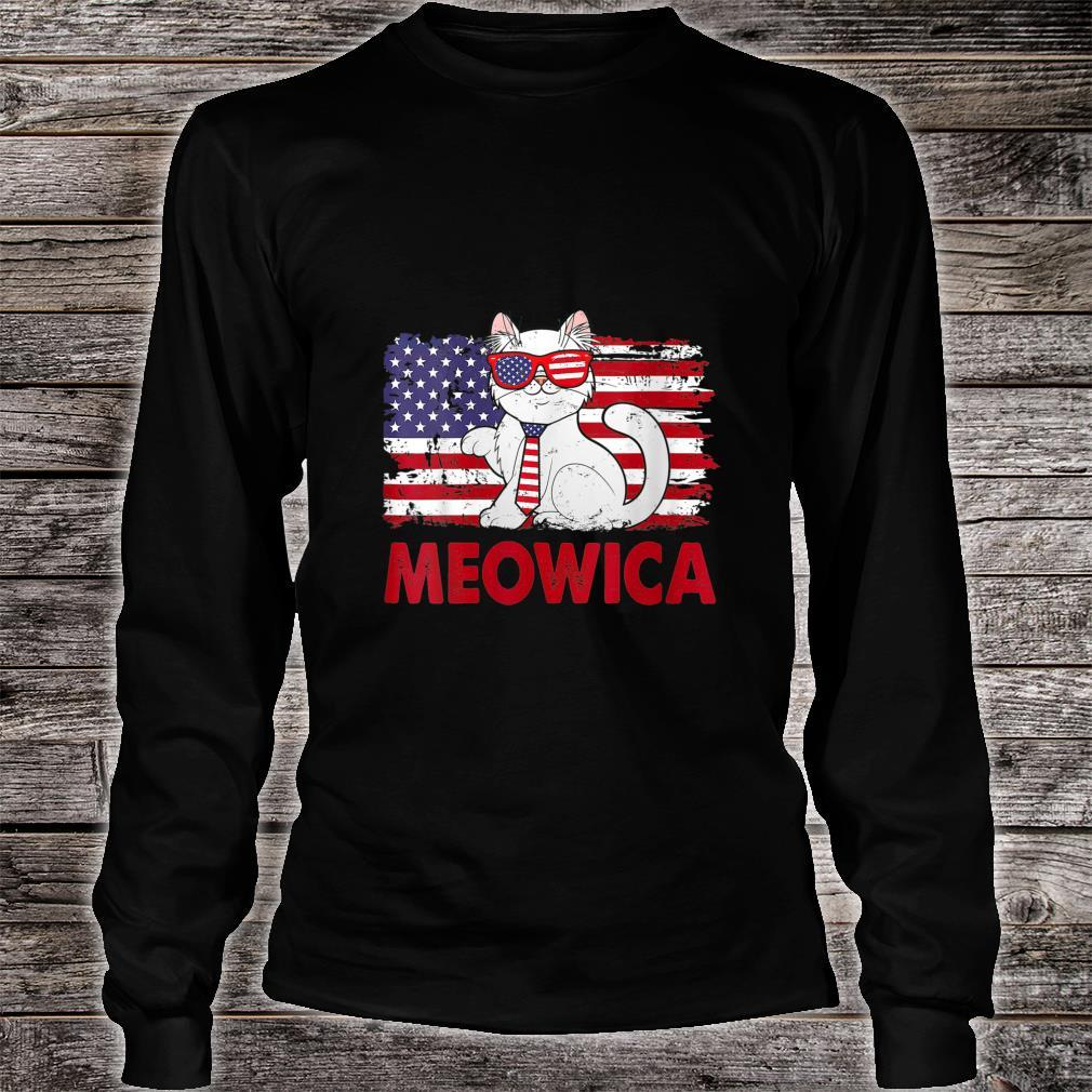 Meowica Cat USA Flag Independence Day 4th Of July Shirt long sleeved