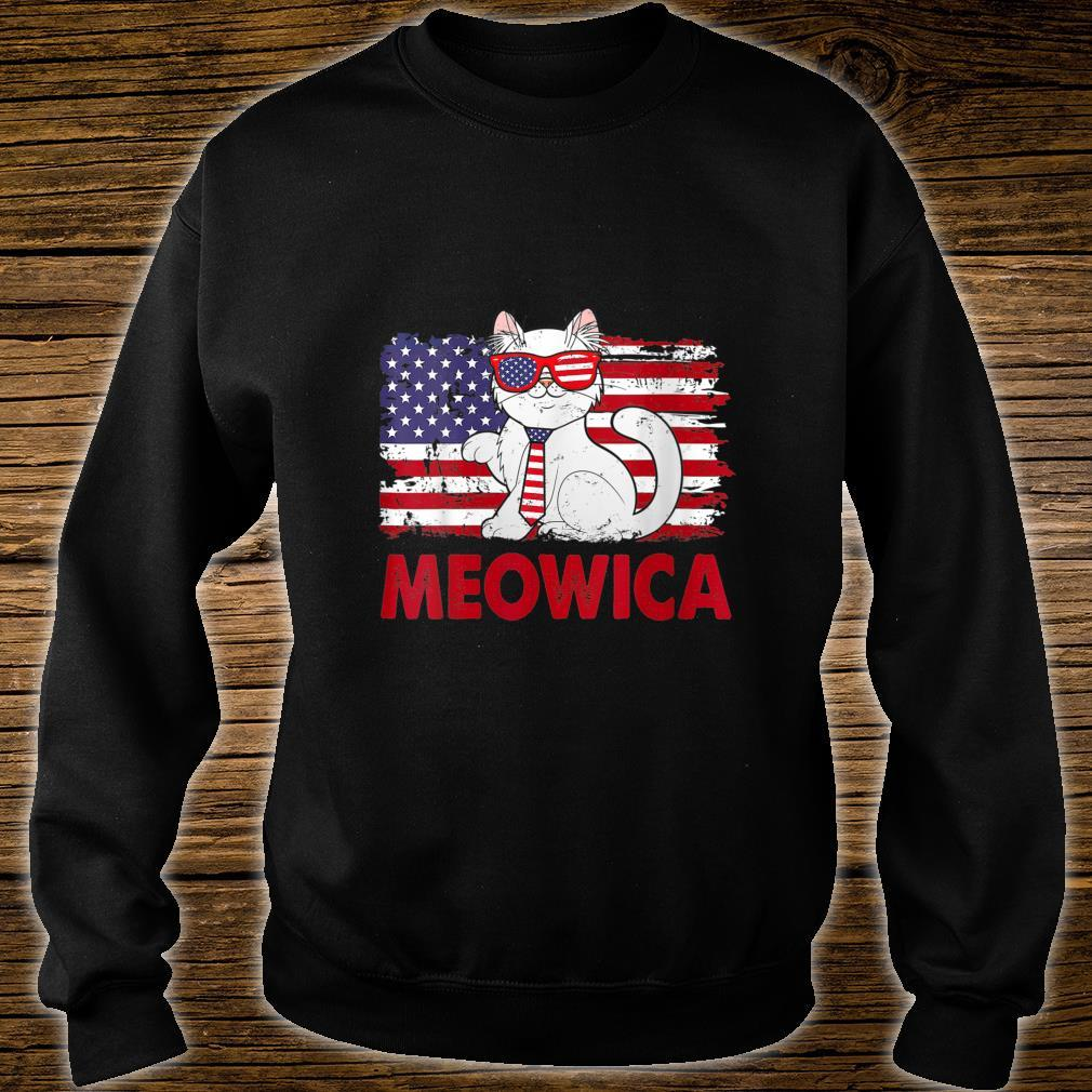 Meowica Cat USA Flag Independence Day 4th Of July Shirt sweater