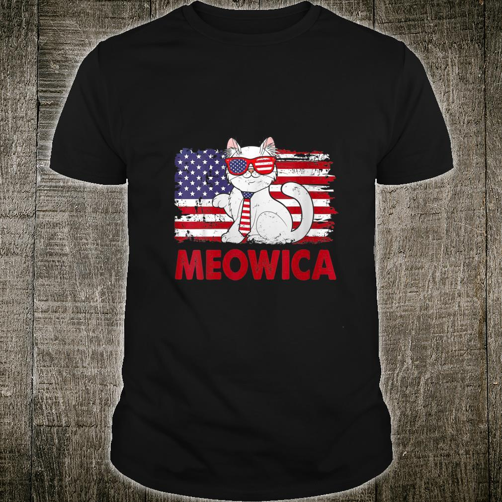 Meowica Cat USA Flag Independence Day 4th Of July Shirt