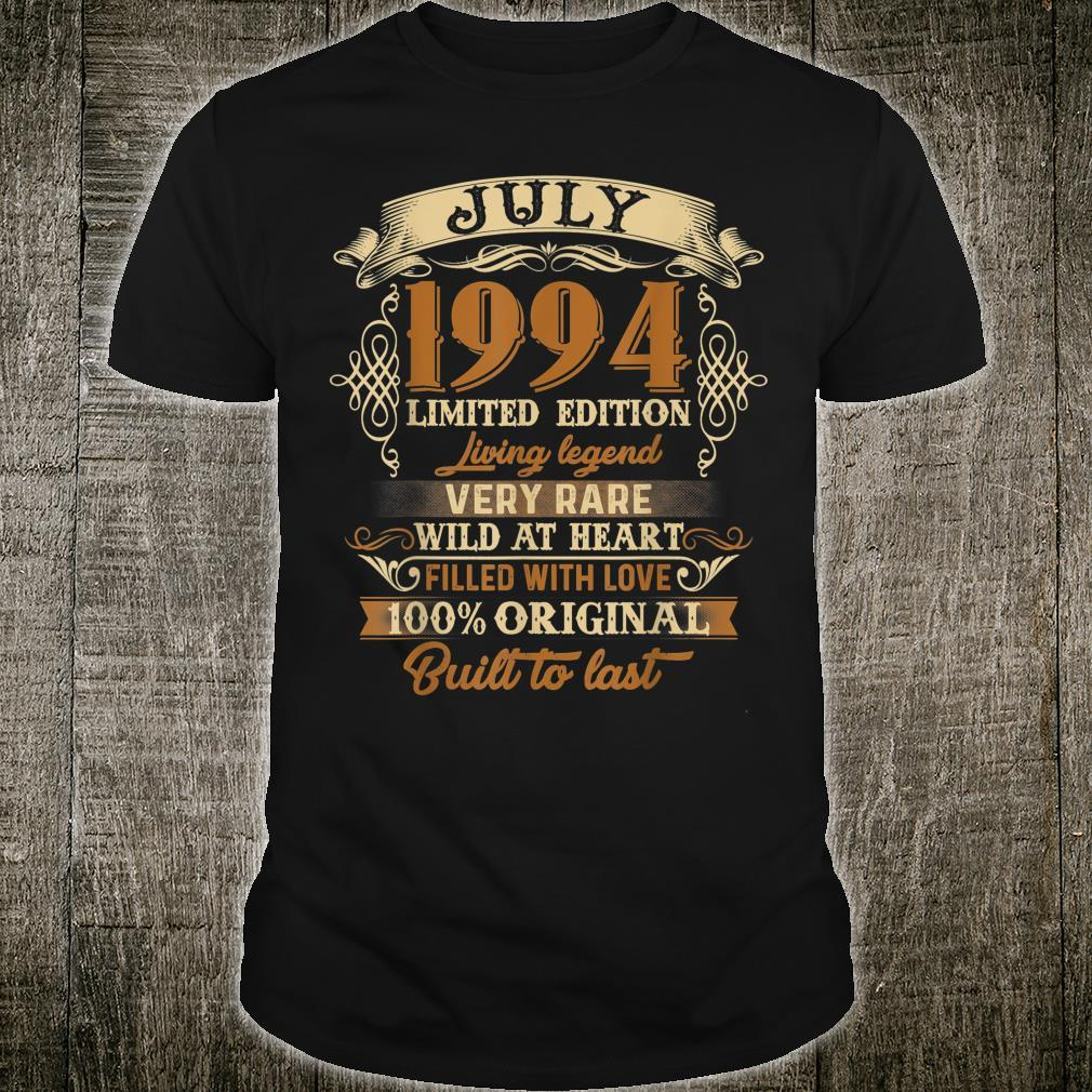 Vintage July 1994 25th birthday 25 Years old Shirt